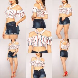 Fashion Nova Striped Crop Top - White/Multi
